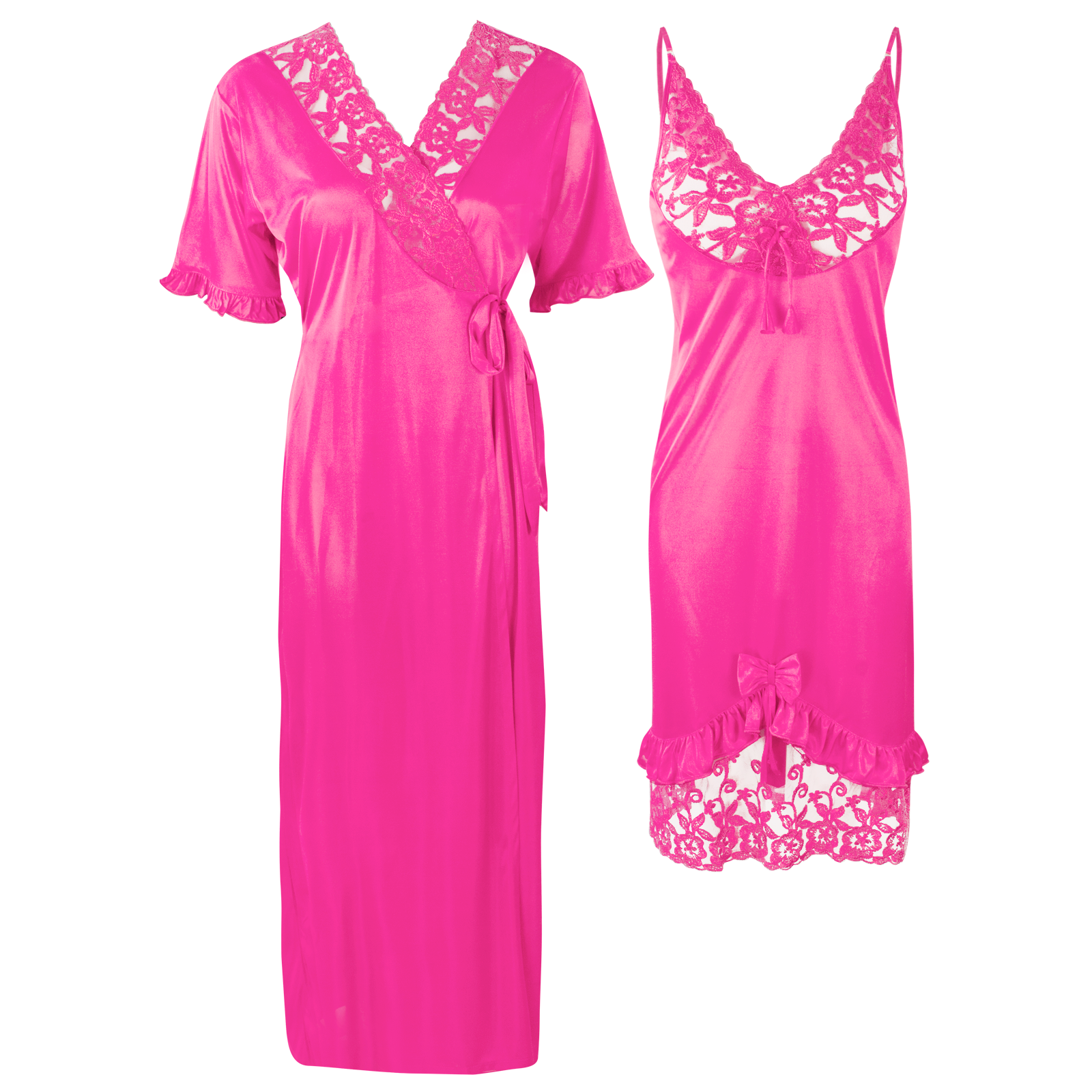 Colour: Rose pink 2Pcs Women Sexy Silk Satin Sleepwear Lingerie Nightie Nightdress Robe Pajamas UK Size: One Size