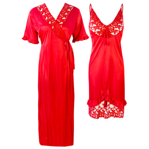 Colour: Red 2Pcs Women Sexy Silk Satin Sleepwear Lingerie Nightie Nightdress Robe Pajamas UK Size: One Size