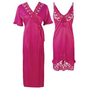 Colour: Wine 2Pcs Women Sexy Silk Satin Sleepwear Lingerie Nightie Nightdress Robe Pajamas UK Size: One Size