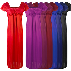 NEW WOMEN SATIN LONG NIGHTDRESS LADIES NIGHTY CHEMISE EMBROIDERY [colour]- Hautie UK, #Nightfashion | #Underfashion