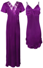 Load image into Gallery viewer, 2 Pcs Short Nighty with Long Robe [colour]- Hautie UK, #Nightfashion | #Underfashion