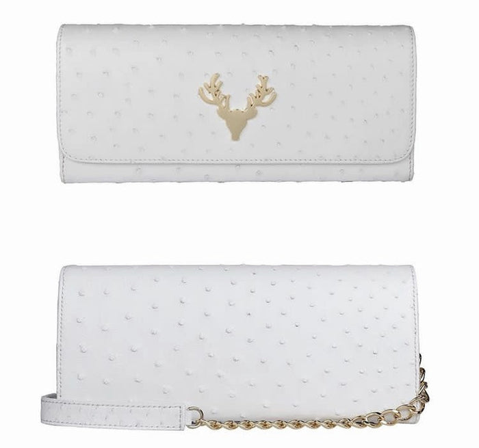 Harper Clutch White Ostrich--FINAL SALE