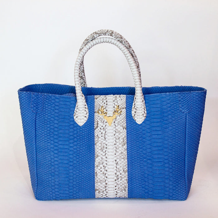 Mackie Tote Blue with Natural Stripe--FINAL SALE