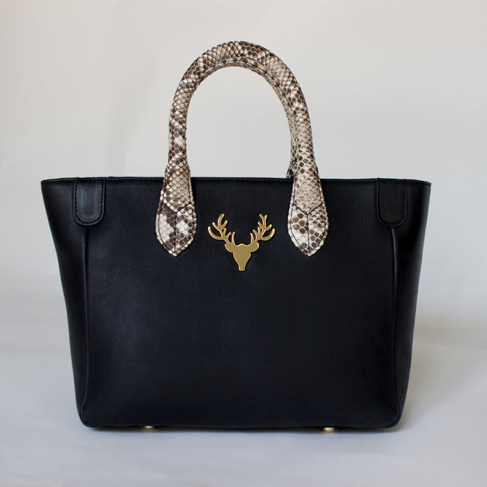 Midi Mackie Tote Black Leather with Python Handles--PreOrder