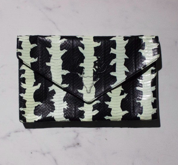 Katie Envelope Clutch Black and White Cobra