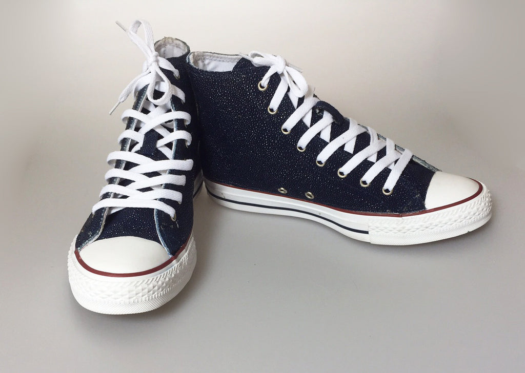 Custom Navy Stingray High Top Chucks