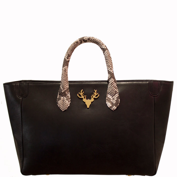 Mackie Tote Black Leather with Python Handles--PreOrder