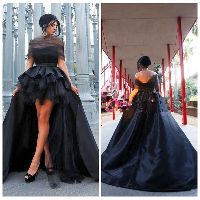 18ffbef0810 Gothic Sheer Black Prom Bridal Hi-Lo Tailor Made Sweep Train Maxi Gown Free