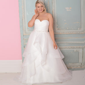 Plus Size Organza Bridal Dress Sweetheart Sleeveless Beading And Ruffles  Create A Slimming Illusion Free Shipping