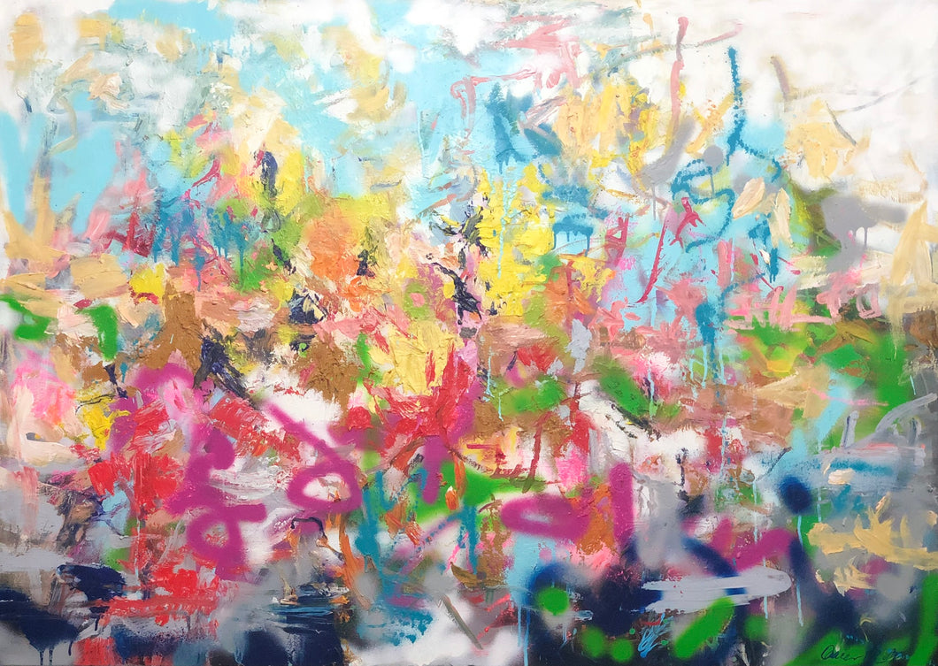 "Coming soon ""Landschaft in bunt und abstrakt"", 100 x 140 cm"