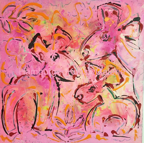 Pink Family, 100 x 100 cm
