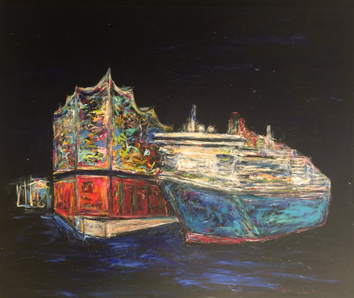 """Queen Mary in Hamburg"", 120 x 100 cm"