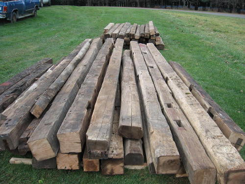 Reclaimed wormy chestnut beams | PlanetReuse
