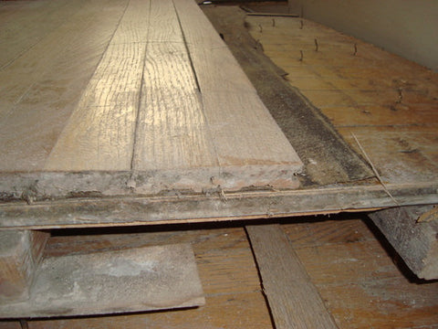 Reclaimed Oak Flooring (multiple layers) and Reclaimed 2x12 heart pine joists