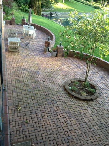 Reclaimed paver brick and roof tile