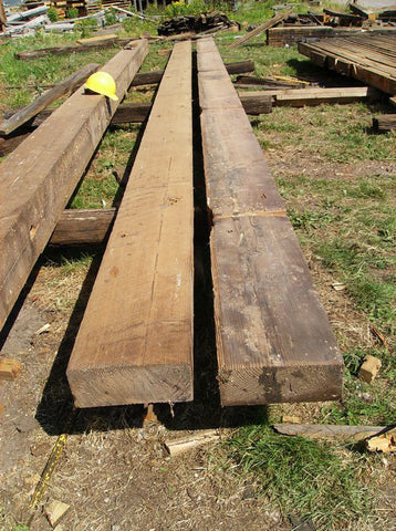 "Reclaimed 4"" x 12"" x 31' Doug fir timbers"