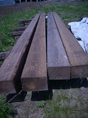 "Reclaimed 8"" x 12"" x 25' Doug fir timbers"