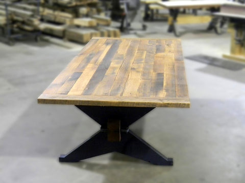 Oak Dining Table with X-Trestle Base