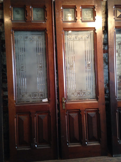 Victorian Cut Etched Glass Carved Front Entry Doors - Victorian Cut Etched Glass Carved Front Entry Doors PlanetReuse