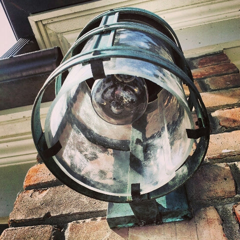 Lovely Exterior Wall Sconce with Natural Patina