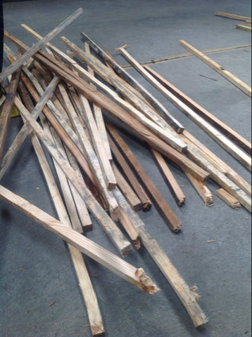 1 bundle of untreated wood slats of various sizes (all 5-ft)