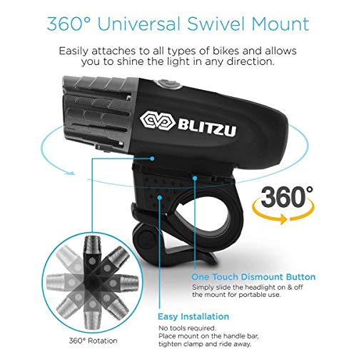 Blitzu Gator 320 Bicycle light Front Back Set USB Rechargeable Free Tail Light v