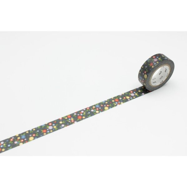 Mini Flower Black Washi Tape