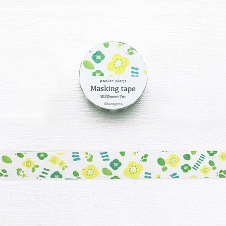 Kurogoma Washi Tape - Lime Flowers