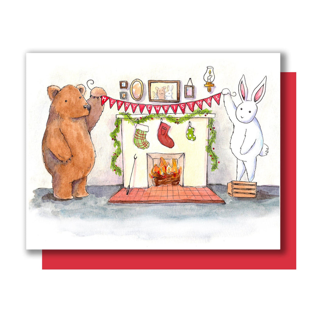 Bear Bunny Christmas Card