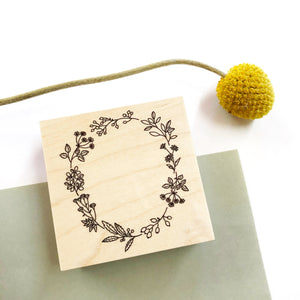 Japanese Wooden Rubber Stamp - Flower Wreath