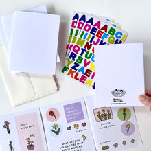 Load image into Gallery viewer, Blank Card Kit w/ Alphabet Sticker Sheet