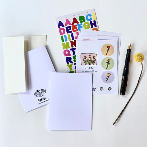 Blank Card Kit w/ Alphabet Sticker Sheet