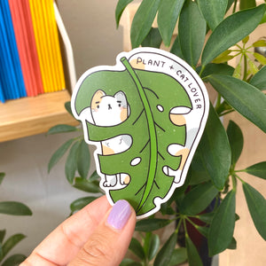 Cat + Plant Lover (White Cat) Vinyl Sticker