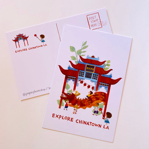 Explore Chinatown LA Postcard