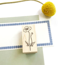 Load image into Gallery viewer, Japanese Wooden Rubber Stamp - Poppy