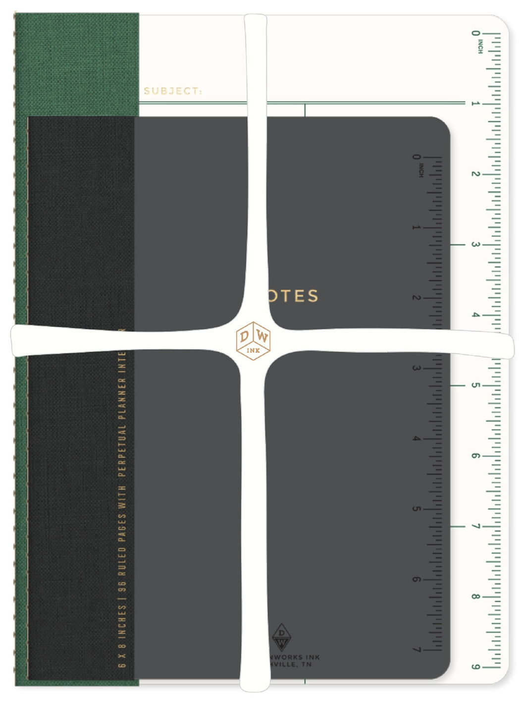 Emerald & Black Linen Grid / 2-Pack Notebook - Undated