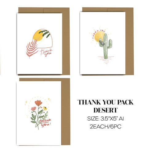 Desert Thank You Cards Pack of 6