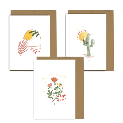Desert Thank You Mini Cards  - Set of 6