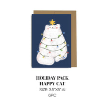 Load image into Gallery viewer, Holiday Lights Cat Cards Pack of 6