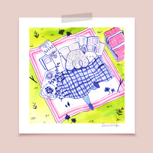 Girl and Bunny Picnic Blanket Art Print