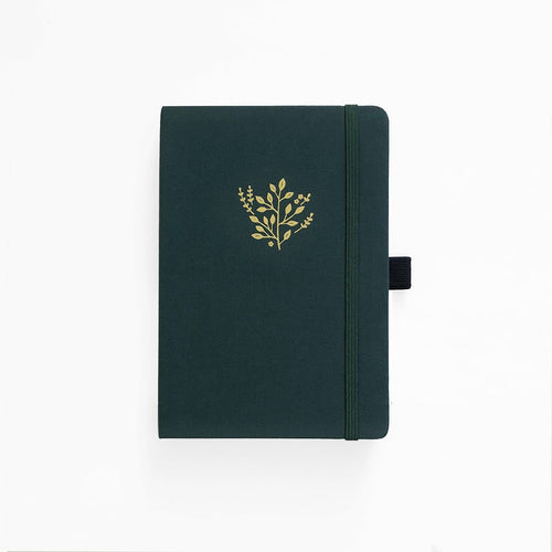 A5 Deep Green Linen Dot Grid Notebook