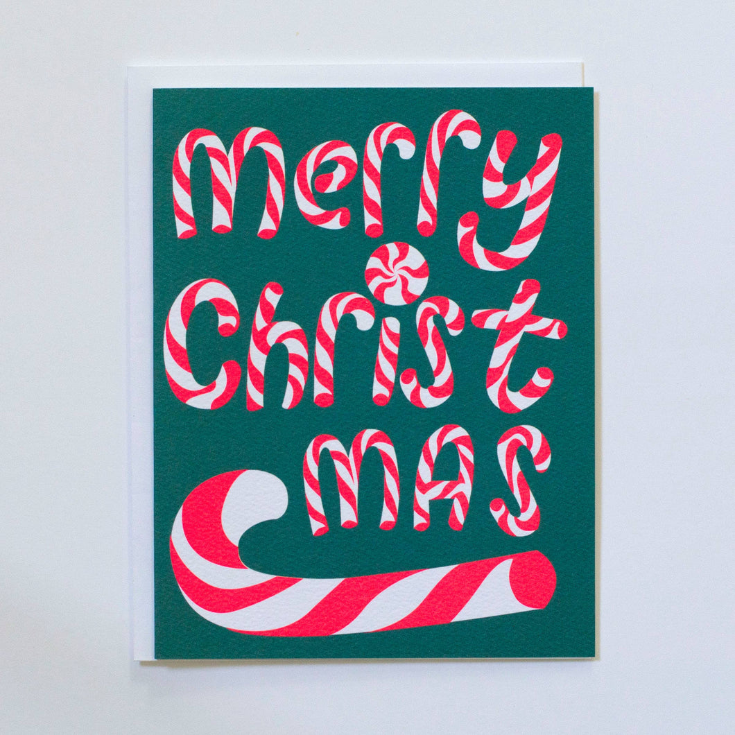 Merry Christmas with Candy Cane Card