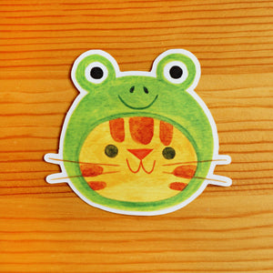 Frog Hat Cat Sticker