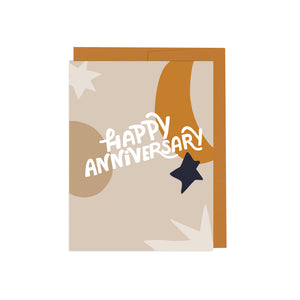 Happy Anniversary Beige Card
