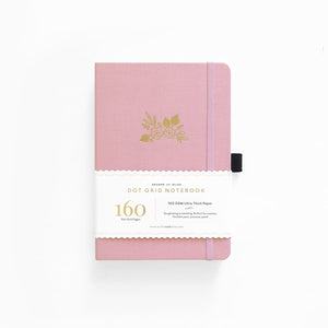 A5 Light Pink Floral Linen Dot Grid Notebook