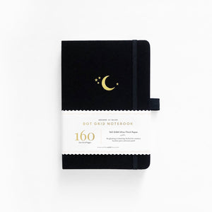 A5 Crescent Moon Linen Dot Grid Notebook