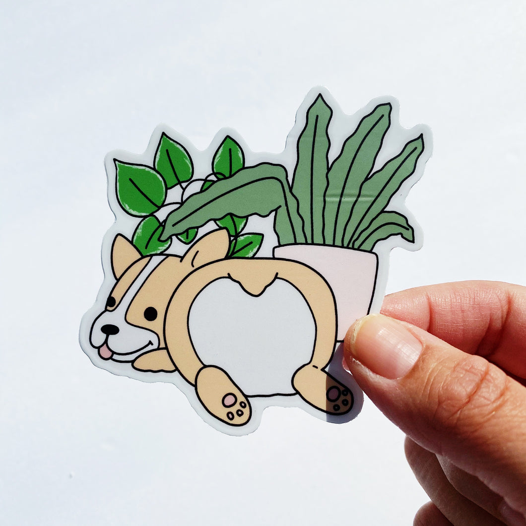 Corgi and Plants Vinyl Sticker