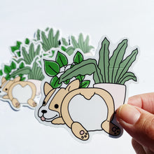 Load image into Gallery viewer, Corgi and Plants Vinyl Sticker