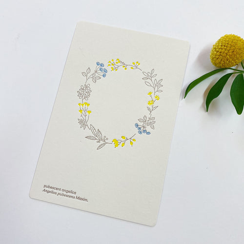 Letterpress Postcard - Autumn Wildflower Wreath