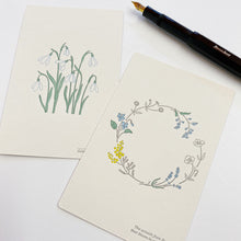 Load image into Gallery viewer, Letterpress Postcard - Spring Wreath